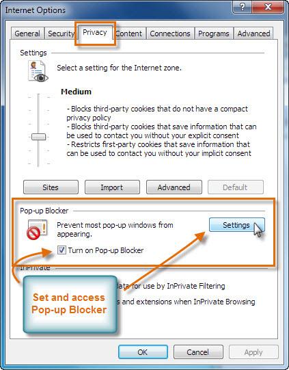 Bloqueador de elementos emergentes de Internet Explorer