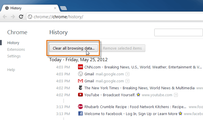 chrome history tab
