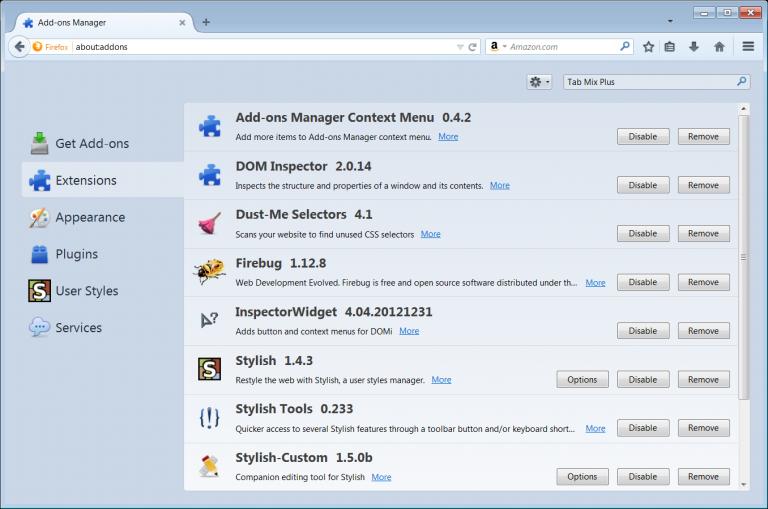 extensiones Mozilla